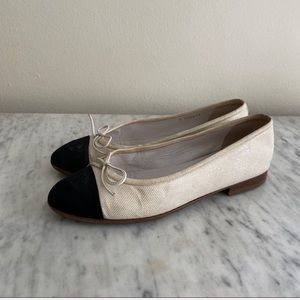 Chanel black and white cap toe ballet flats 36.5